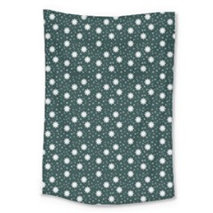Floral Dots Teal Large Tapestry by snowwhitegirl