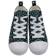 Floral Dots Teal Kid s Mid Top Canvas Sneakers
