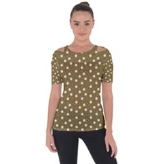 Floral Dots Brown Short Sleeve Top