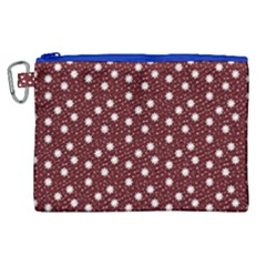 Floral Dots Maroon Canvas Cosmetic Bag (xl) by snowwhitegirl