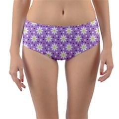 Daisy Dots Lilac Reversible Mid Waist Bikini Bottoms by snowwhitegirl