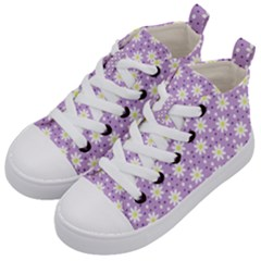 Daisy Dots Lilac Kid s Mid Top Canvas Sneakers by snowwhitegirl