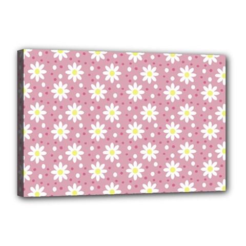 Daisy Dots Pink Canvas 18  X 12  by snowwhitegirl