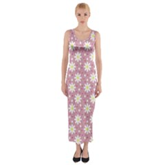 Daisy Dots Pink Fitted Maxi Dress by snowwhitegirl