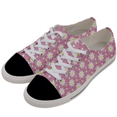 Daisy Dots Pink Women s Low Top Canvas Sneakers by snowwhitegirl