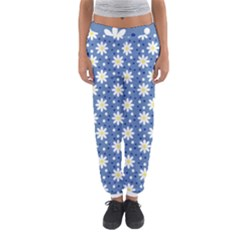 Daisy Dots Blue Women s Jogger Sweatpants by snowwhitegirl