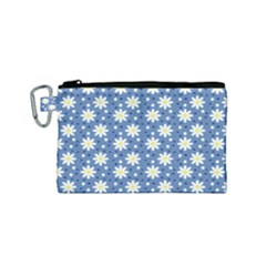 Daisy Dots Blue Canvas Cosmetic Bag (small) by snowwhitegirl