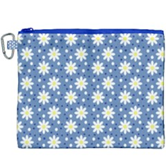 Daisy Dots Blue Canvas Cosmetic Bag (xxxl) by snowwhitegirl