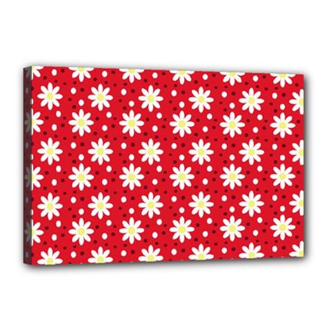 Daisy Dots Red Canvas 18  X 12  by snowwhitegirl