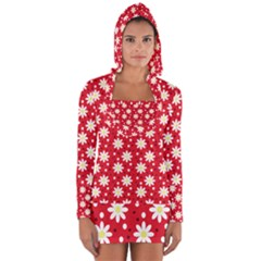 Daisy Dots Red Long Sleeve Hooded T Shirt