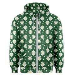 Daisy Dots Green Men s Zipper Hoodie