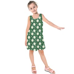 Daisy Dots Green Kids  Sleeveless Dress by snowwhitegirl