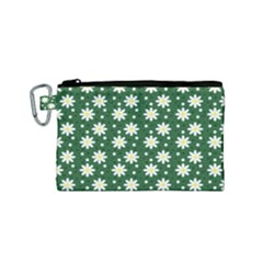 Daisy Dots Green Canvas Cosmetic Bag (small)