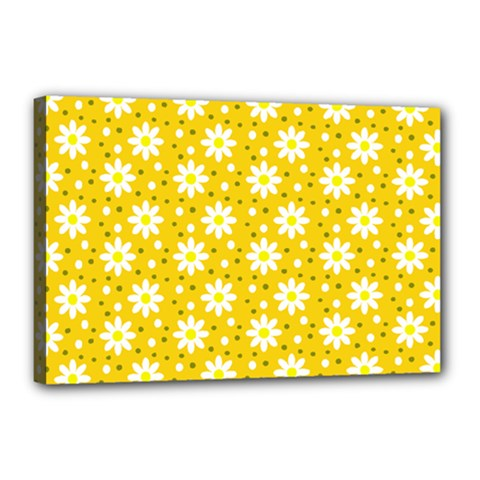 Daisy Dots Yellow Canvas 18  X 12  by snowwhitegirl