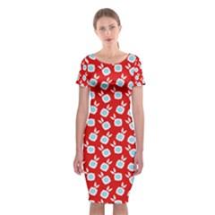 Square Flowers Red Classic Short Sleeve Midi Dress
