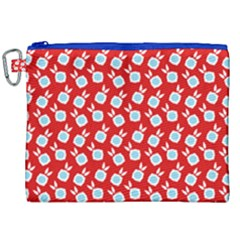 Square Flowers Red Canvas Cosmetic Bag (xxl) by snowwhitegirl