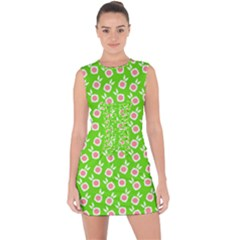Square Flowers Green Lace Up Front Bodycon Dress