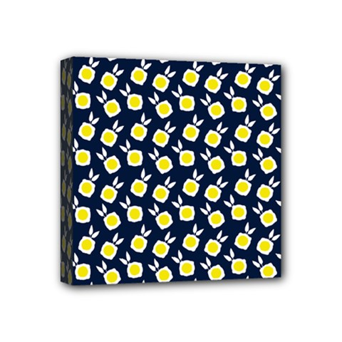 Square Flowers Navy Blue Mini Canvas 4  X 4