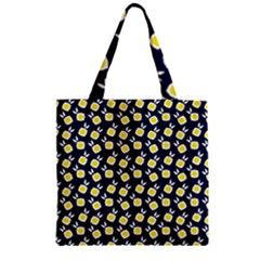 Square Flowers Navy Blue Zipper Grocery Tote Bag by snowwhitegirl