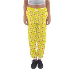 Square Flowers Yellow Women s Jogger Sweatpants by snowwhitegirl