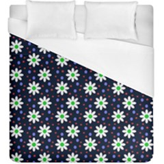 Daisy Dots Navy Blue Duvet Cover (king Size) by snowwhitegirl