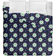 Daisy Dots Navy Blue Duvet Cover Double Side (king Size) by snowwhitegirl