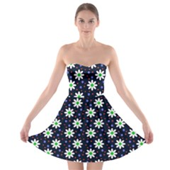 Daisy Dots Navy Blue Strapless Bra Top Dress by snowwhitegirl