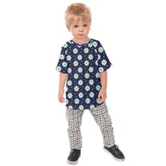 Daisy Dots Navy Blue Kids Raglan Tee by snowwhitegirl