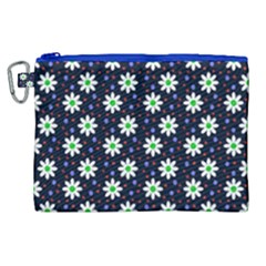Daisy Dots Navy Blue Canvas Cosmetic Bag (xl) by snowwhitegirl