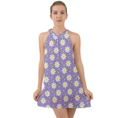Daisy Dots Violet Halter Tie Back Chiffon Dress