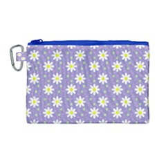 Daisy Dots Violet Canvas Cosmetic Bag (large)