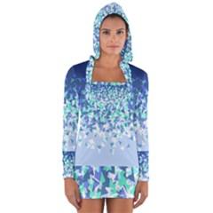 Blue Disintegrate Long Sleeve Hooded T Shirt