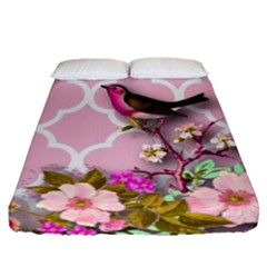 Shabby Chic,floral,bird,pink,collage Fitted Sheet (queen Size) by 8fugoso
