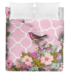 Shabby Chic,floral,bird,pink,collage Duvet Cover Double Side (queen Size) by 8fugoso