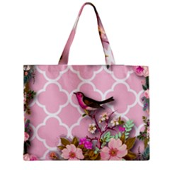 Shabby Chic,floral,bird,pink,collage Zipper Medium Tote Bag by 8fugoso