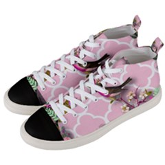 Shabby Chic,floral,bird,pink,collage Men s Mid Top Canvas Sneakers by 8fugoso