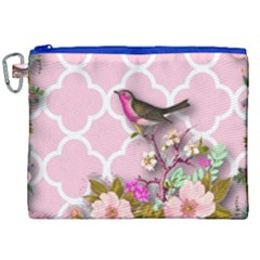 Shabby Chic,floral,bird,pink,collage Canvas Cosmetic Bag (xxl) by 8fugoso