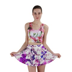 Ultra Violet,shabby Chic,flowers,floral,vintage,typography,beautiful Feminine,girly,pink,purple Mini Skirt by 8fugoso