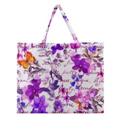 Ultra Violet,shabby Chic,flowers,floral,vintage,typography,beautiful Feminine,girly,pink,purple Zipper Large Tote Bag by 8fugoso
