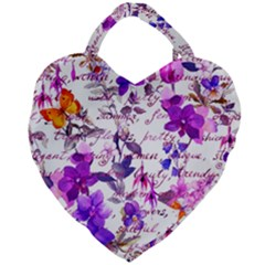 Ultra Violet,shabby Chic,flowers,floral,vintage,typography,beautiful Feminine,girly,pink,purple Giant Heart Shaped Tote by 8fugoso