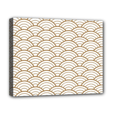Gold,white,art Deco,vintage,shell Pattern,asian Pattern,elegant,chic,beautiful Deluxe Canvas 20  X 16   by 8fugoso