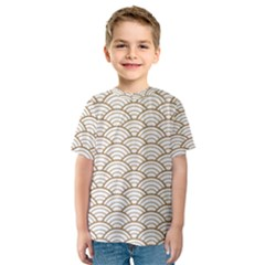 Gold,white,art Deco,vintage,shell Pattern,asian Pattern,elegant,chic,beautiful Kids  Sport Mesh Tee by 8fugoso