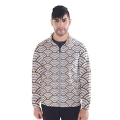 Gold,white,art Deco,vintage,shell Pattern,asian Pattern,elegant,chic,beautiful Wind Breaker (men) by 8fugoso