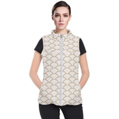 Gold,white,art Deco,vintage,shell Pattern,asian Pattern,elegant,chic,beautiful Women s Puffer Vest by 8fugoso