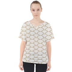 Gold,white,art Deco,vintage,shell Pattern,asian Pattern,elegant,chic,beautiful V Neck Dolman Drape Top by 8fugoso