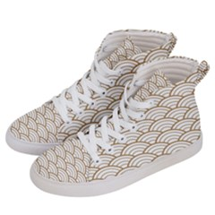 Gold,white,art Deco,vintage,shell Pattern,asian Pattern,elegant,chic,beautiful Women s Hi Top Skate Sneakers by 8fugoso