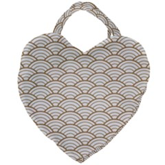 Gold,white,art Deco,vintage,shell Pattern,asian Pattern,elegant,chic,beautiful Giant Heart Shaped Tote by 8fugoso