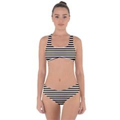 Black And Gold Stripes Criss Cross Bikini Set