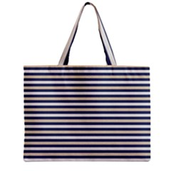 Royal Gold Classic Stripes Zipper Mini Tote Bag by jumpercat