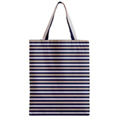 Royal Gold Classic Stripes Zipper Classic Tote Bag by jumpercat